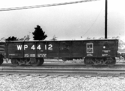 WP 4412 shows her new number at Pittsburg in 1978. Your editor. remembers  this car as black with white lettering. Note that the car is not